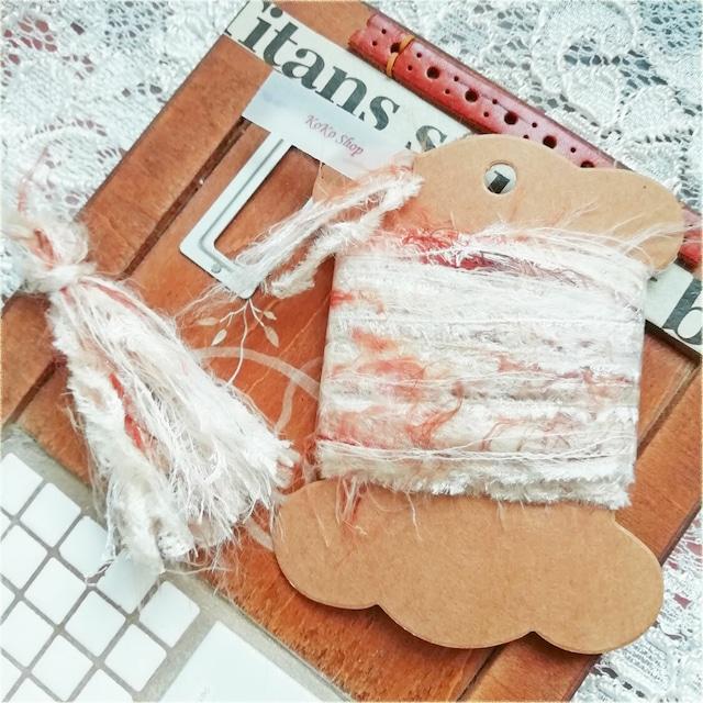 §koko§ 引き揃え糸カード ~fuwari~ブラウン オリジナル糸 ファー ラッピング レース タッセル
