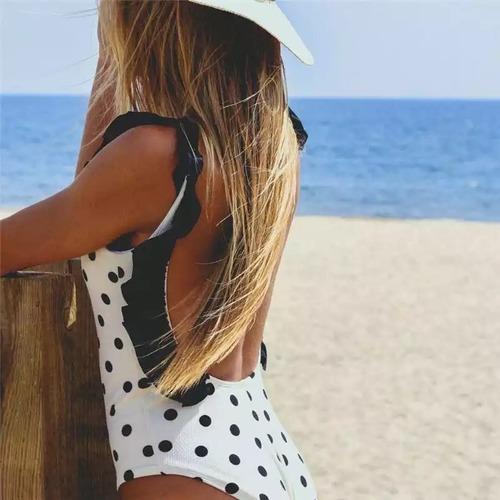 Bikini♡ドットフリルトリムモノキニ ホワイト