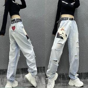 【ボトムス】プリントダメージ加工ファッションカジュアルデニムパンツ46714845