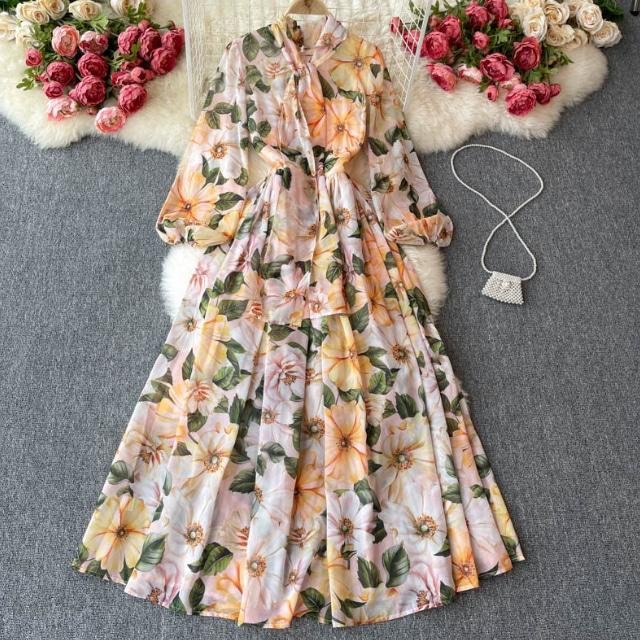 フラワー シフォン ロング ドレス【R0999】