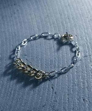 Y2010KHB0906【YArKA/ヤーカ】silver925 thick flat & oval chain bracelet [F906]/喜平&楕円ミックスブレスレット シルバー925