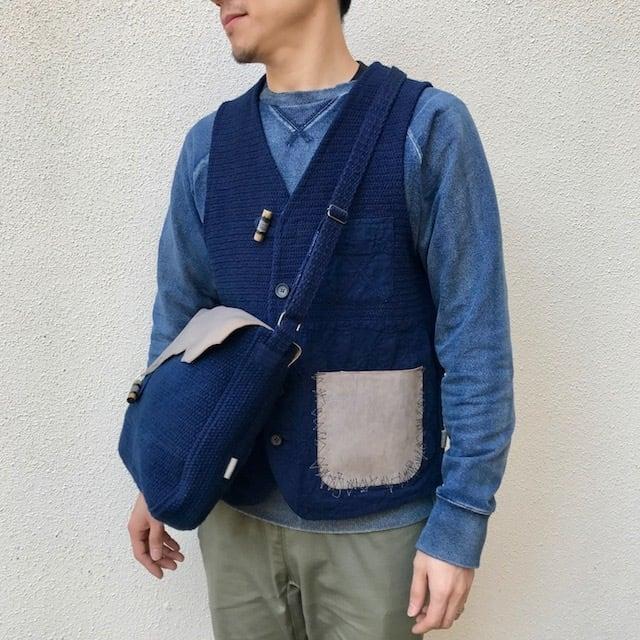 """●▲■ × """"BORO"""" 藍染刺し子 Vintage Vest (リメイク)"""