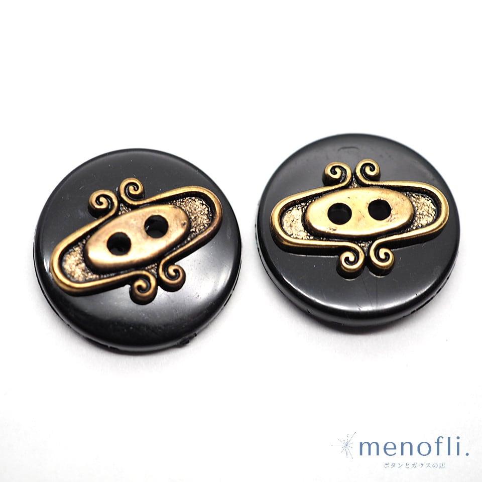 2pc ペアボタン 黒金2つ穴 プラスチックボタン pairb 20210710