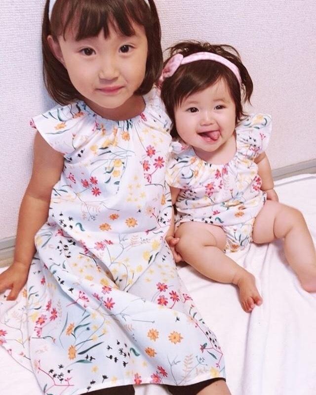 姉妹リンクコーデ ●花柄ホワイト ワンピース●予約