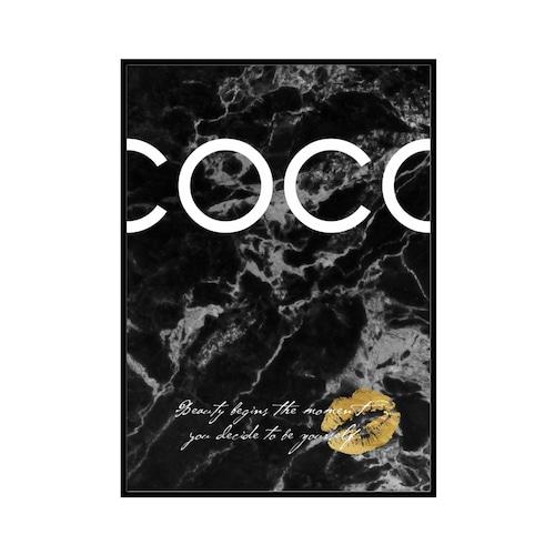 """COCO Beauty begins..."" Black marble - COCOシリーズ [SD-000555] A2サイズ フレームセット"