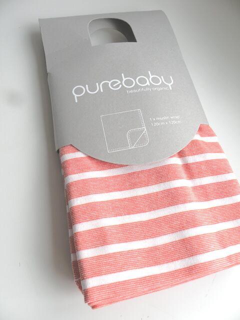 オーガニックコットン オレンジストライプバ二ーラグ おくるみ ベビー服  【Purebaby】