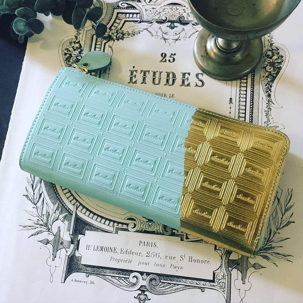 【お取り置き品】訳あり:革のミントチョコ長財布(金の包み紙)