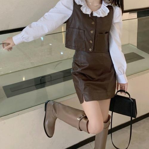 【2点セット】フェイクレザーベスト+ミニスカート ・18007