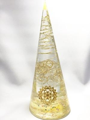 円錐型オルゴナイト【ゴールドルチル・シトリン・&天然水晶】