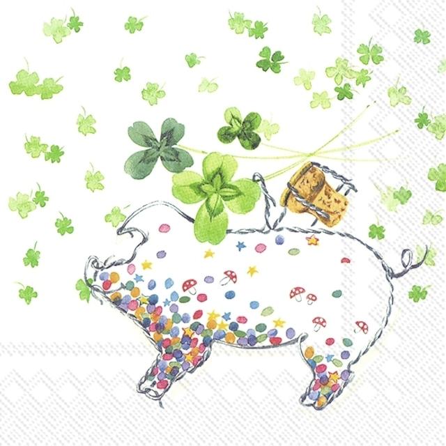 2021秋冬【IHR】バラ売り2枚 ランチサイズ ペーパーナプキン LUCKY PIG ホワイト