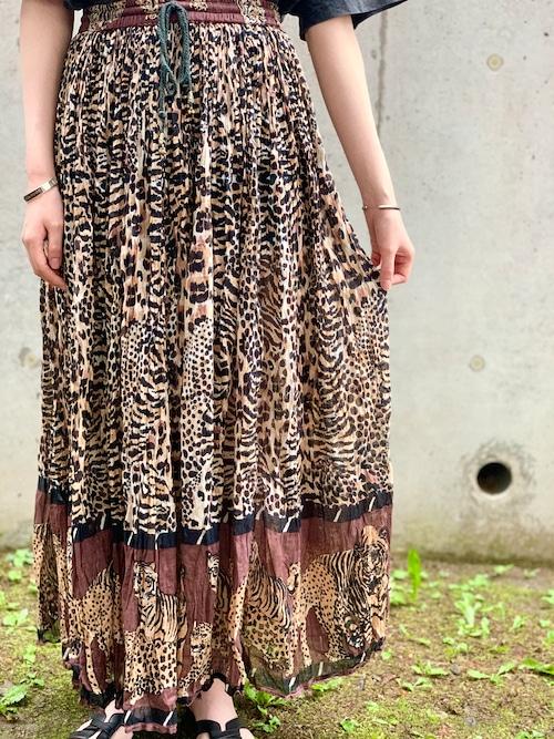 Vintage Indian Cotton Leopard Skirt