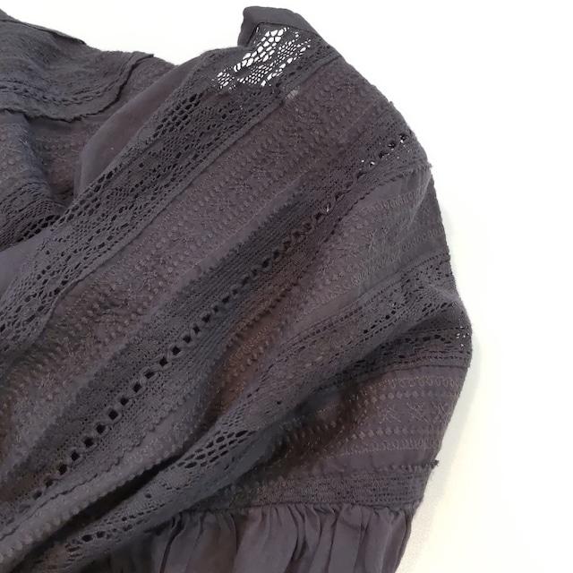 【SALE】cotton lace blouse  <navy>