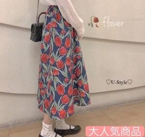 【即納】人気NO2   花柄ロングスカート