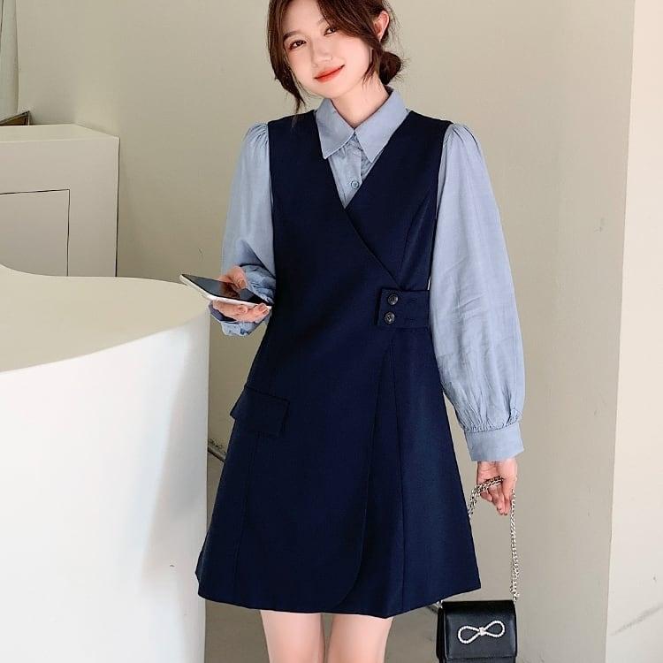 パフスリーブシャツ&ワンピースセット V00898