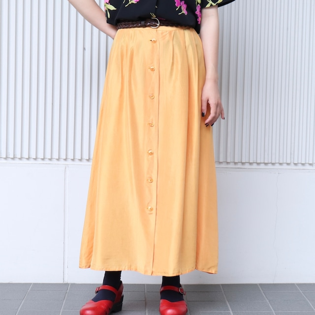 レディース 90〜00年代 デッドストック シルク 前ボタンスカート L