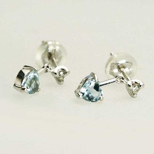 アクアマリン&ダイヤモンドのピアス K18WG