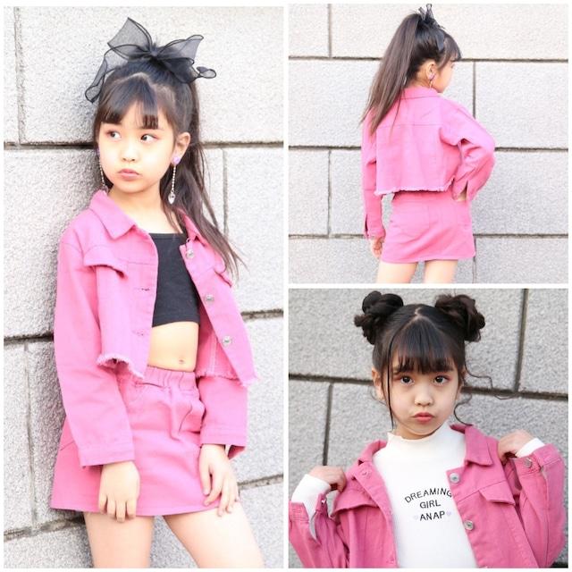 100~150cm ★ セットアップ ピンク セットアイテム カジュアル スカート ジャケット