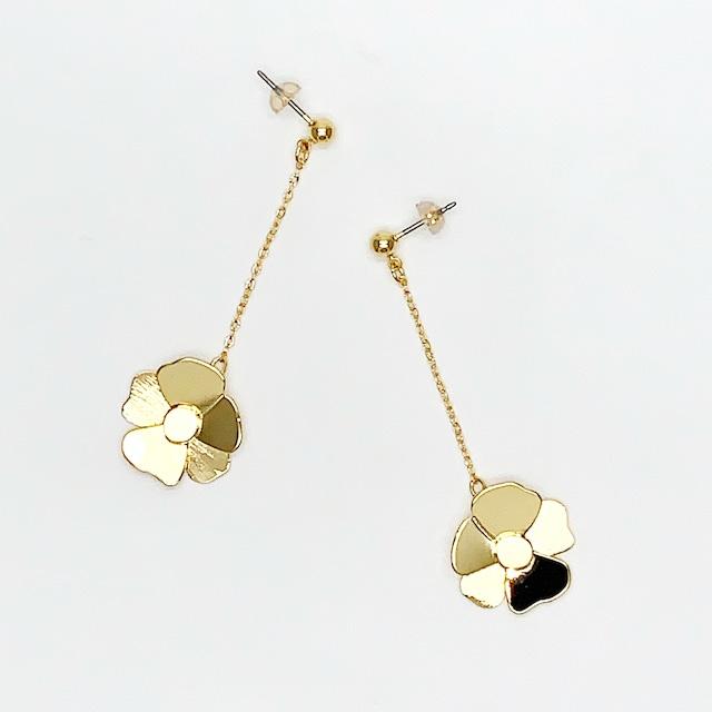 bloom flower chain ピアス