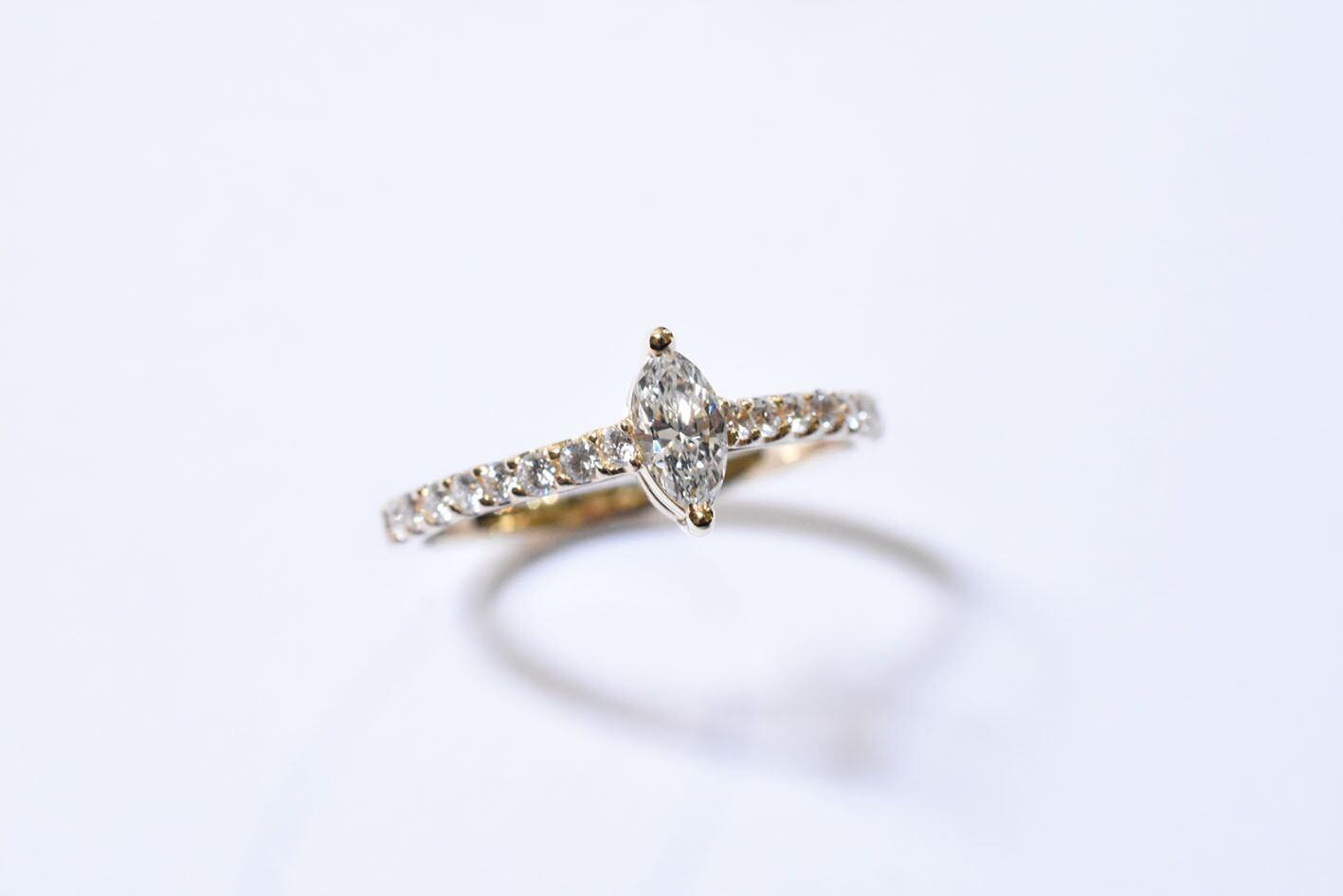 マーキスカット ダイヤモンドリング  0.212ct / D / VVS-1 / K18YG