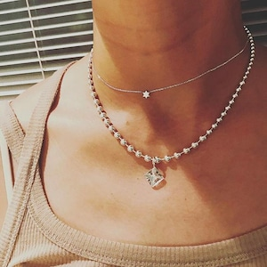 white topaz ball chain necklace