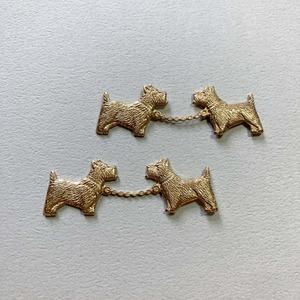 USA真鍮 つながった2匹の犬パーツ