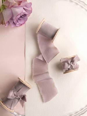 Mauve Silk Ribbon(手染め手裂きタイプ) ■木製スプール付 シルクリボン モーヴ