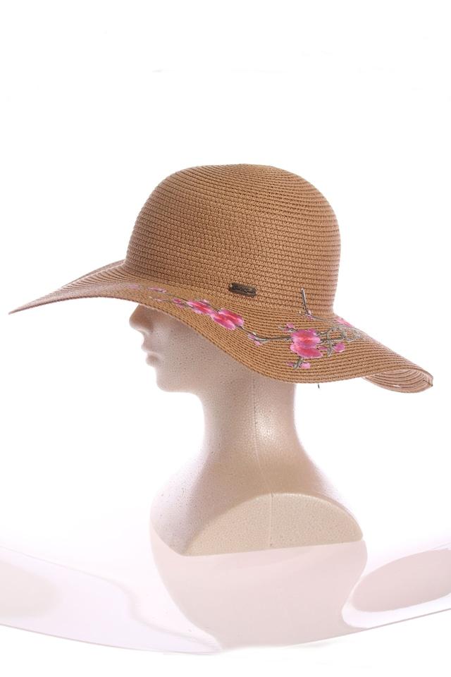 桜の刺繍の麦わら帽子