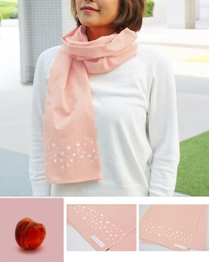 温感手ぬぐいスカーフ【Arareピンク】100%国産天然綿 和晒生地使用 (送料無料)