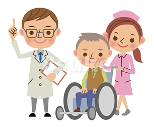 イラスト素材:医者(ドクター)と老人の車いすを押す看護師(ナース)(ベクター・JPG)