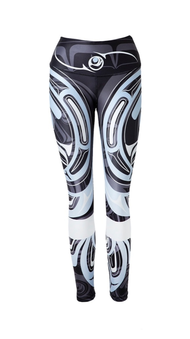 Wolf and Moon with Band Black Legging