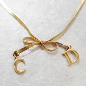 Christian Dior ディオール ネックレス リボンチャーム ゴールド アクセサリー