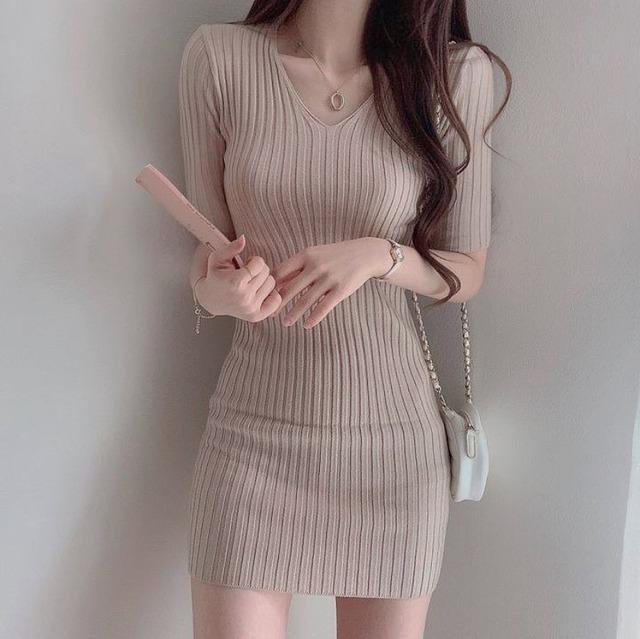 ❤︎ simple lib knit dress 3color