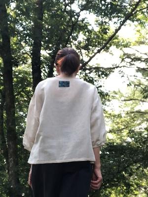 播州織ハーフリネンの「羽衣」Tブラウス(きなり)/八月のうさぎ