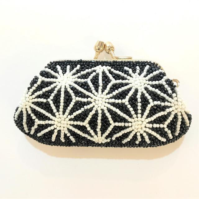 がまぐち財布008麻の葉柄黒白ビーズ刺繍