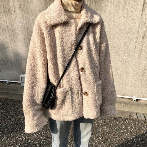 ショートコート コート ジャケット 韓国ファッション レディース もこもこ シングルブレスト 大きいポケット 大人カジュアル 秋 冬 オルチャン 韓国 DTC-604786960597