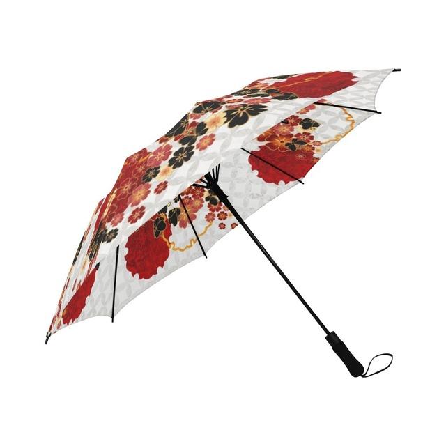 桜家紋蝶家紋 白 折りたたみ傘