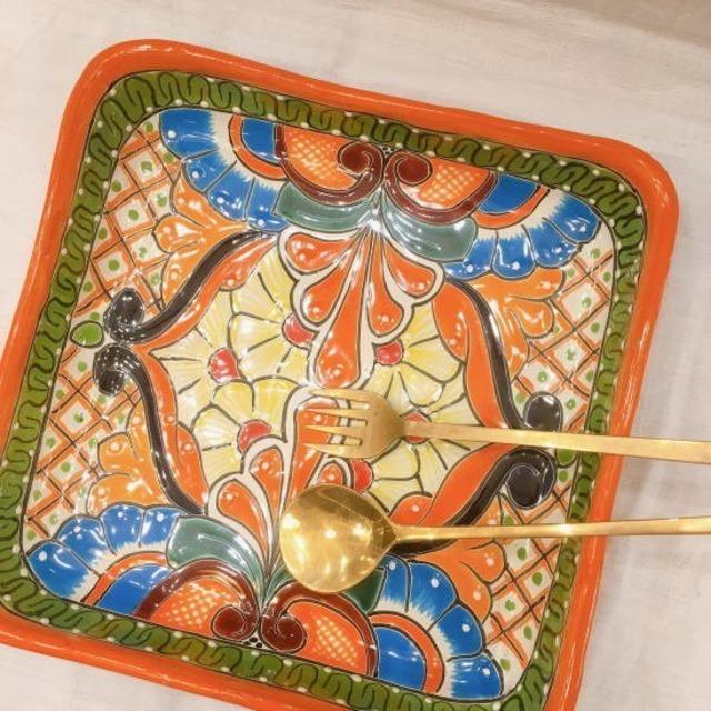 メキシコ グアナファト焼の四角深皿 オレンジE