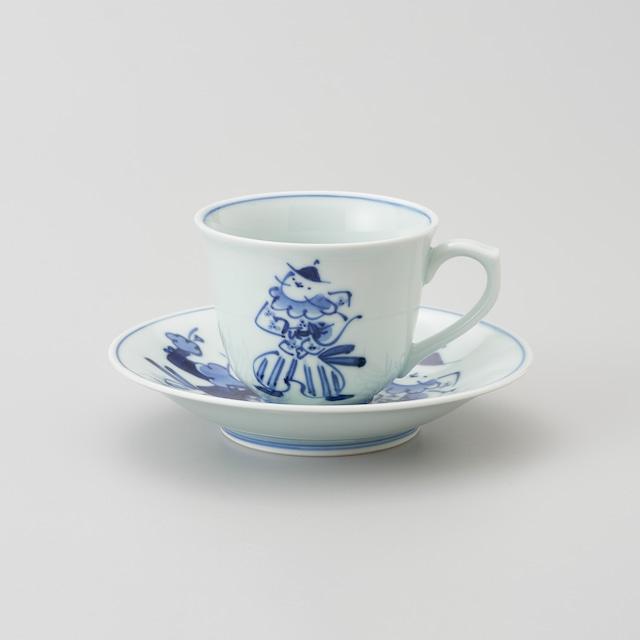 """【青花】""""Classic"""" 百合型コーヒー碗皿(オランダ万才)"""