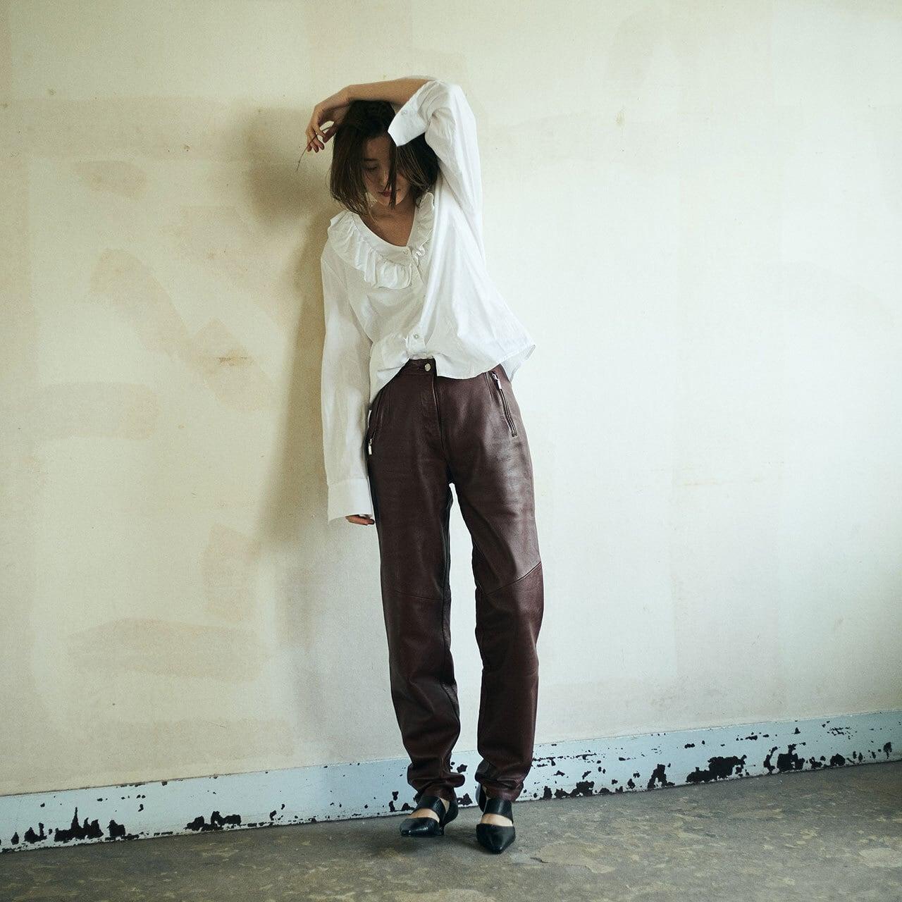 80's Burgundy leather pants