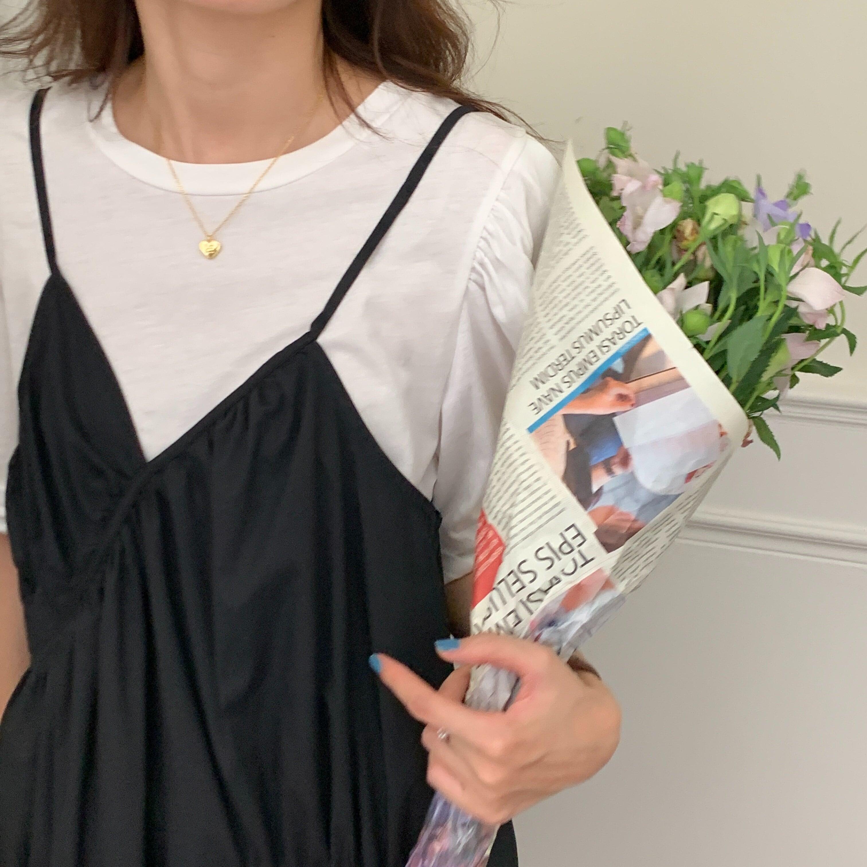 【ワンピース】デザインキャミワンピース&Tシャツset