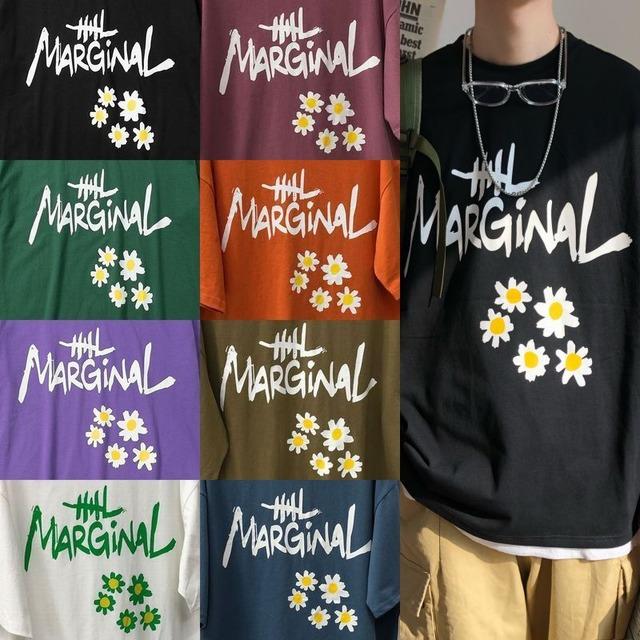 ユニセックス Tシャツ 半袖 メンズ レディース 英字 花 フラワープリント オーバーサイズ 大きいサイズ ルーズ ストリート TBN-614814663557