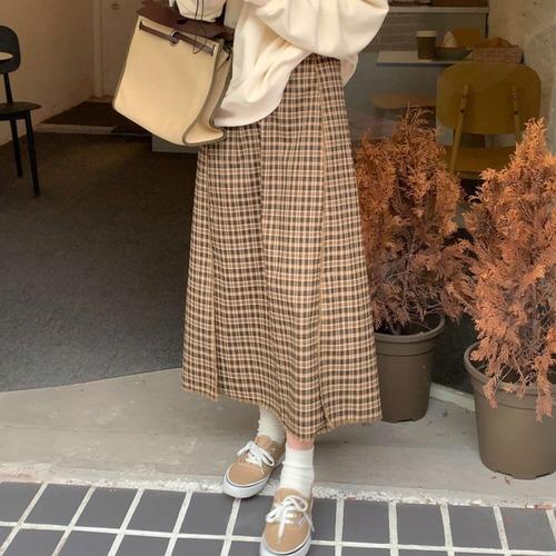 タータンチェックハイウエストAラインスカート U6325