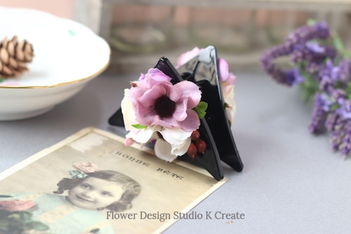 コスモスと薔薇の三角バンスクリップ 髪飾り ヘアクリップ 結婚式 参列 フォーマル ブルー お出掛け