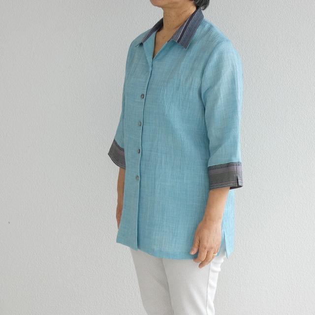 【てぃーだかりゆし】七分袖レディース チュニックシャツカラー