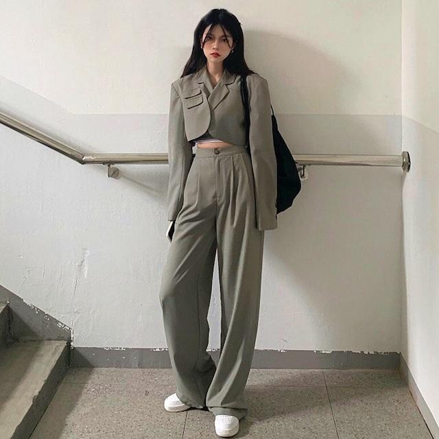 【セット】韓国系長袖ストリート系ファッションショート丈スーツ+パンツ41148419