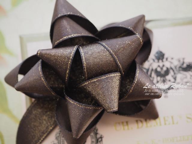 フランス製リボン「サテンラメ・チョコレート 15ミリ」ワイヤーなし