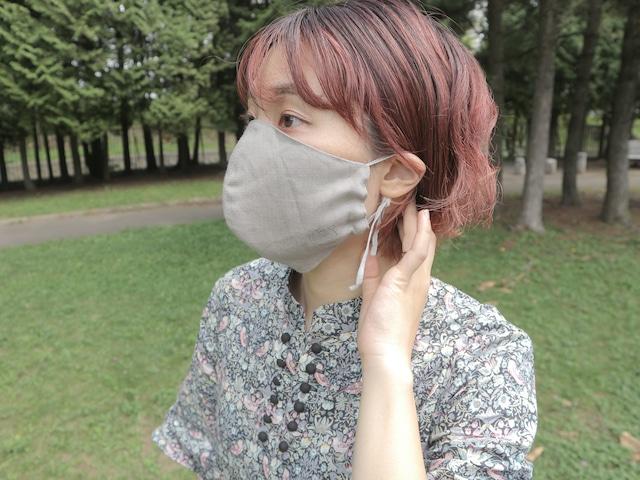 つみきの顎までマスク/リネン刺繍
