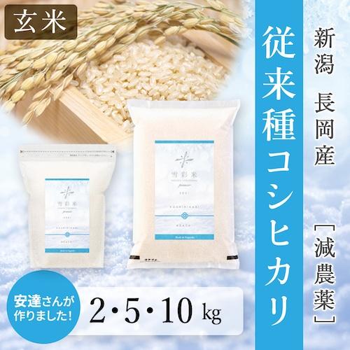 【雪彩米Premier】《玄米》令和3年産 長岡産 減農薬 新米 従来種コシヒカリ 2~10kg