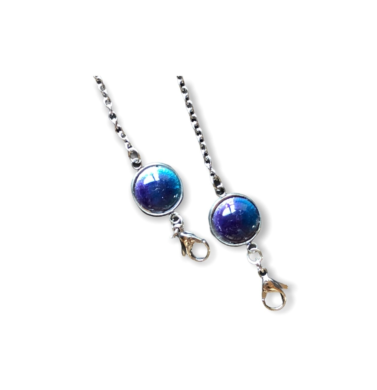 紫青釉薬 マスクチェーン(メガネチェーン用の金具付き)
