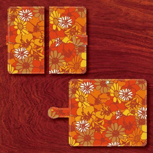 昭和レトロ/レトロポップ/花柄/赤・橙・茶/Androidスマホケース(手帳型ケース)